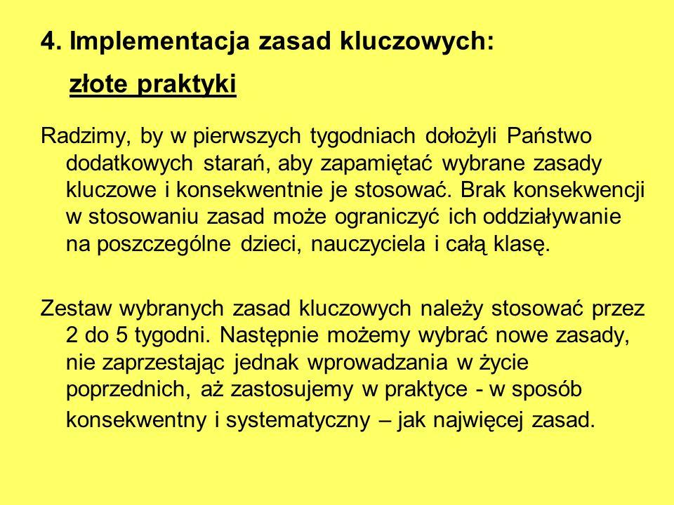 4. Implementacja zasad kluczowych: złote praktyki Radzimy, by w pierwszych tygodniach dołożyli Państwo dodatkowych starań, aby zapamiętać wybrane zasa