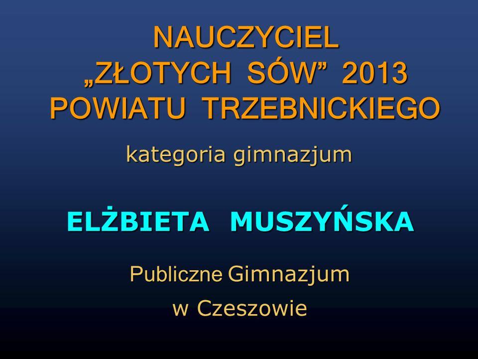 ELŻBIETA MUSZYŃSKA Publiczne Gimnazjum w Czeszowie NAUCZYCIEL ZŁOTYCH SÓW 2013 POWIATU TRZEBNICKIEGO NAUCZYCIEL ZŁOTYCH SÓW 2013 POWIATU TRZEBNICKIEGO