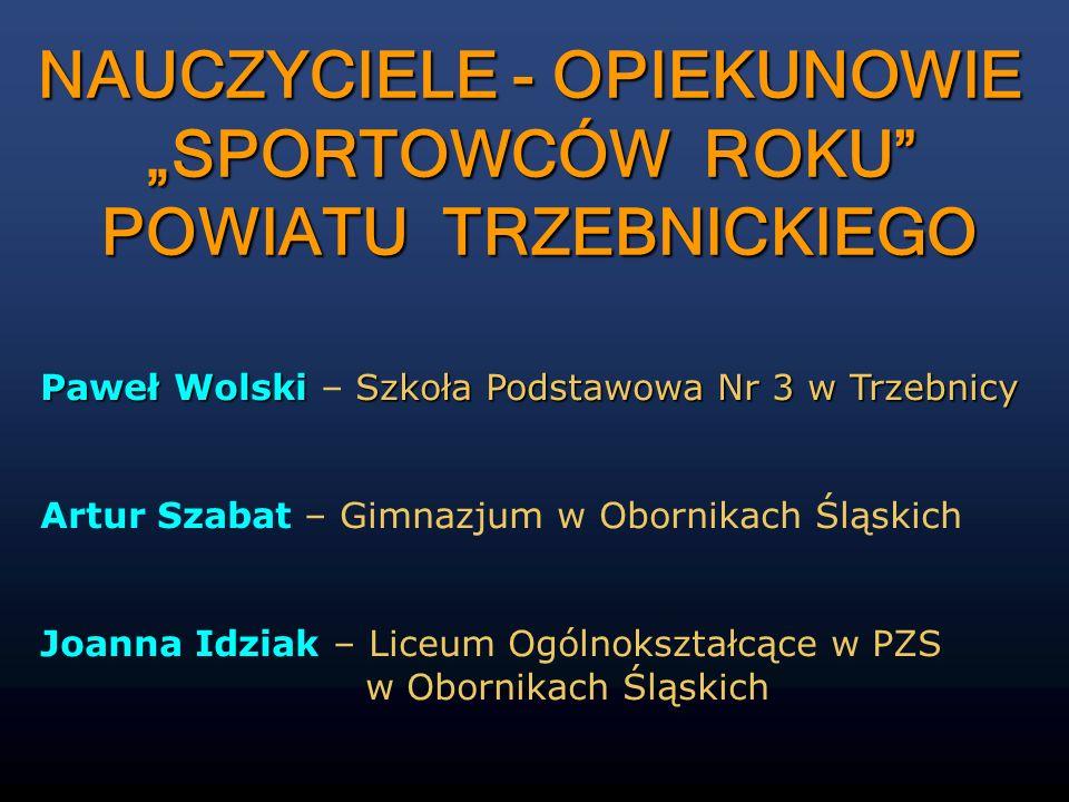 Paweł Wolski Szkoła Podstawowa Nr 3 w Trzebnicy Paweł Wolski – Szkoła Podstawowa Nr 3 w Trzebnicy Artur Szabat – Gimnazjum w Obornikach Śląskich Joann