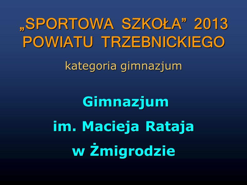 Gimnazjum Gimnazjum im. Macieja Rataja w Żmigrodzie SPORTOWA SZKOŁA 2013 POWIATU TRZEBNICKIEGO kategoria gimnazjum
