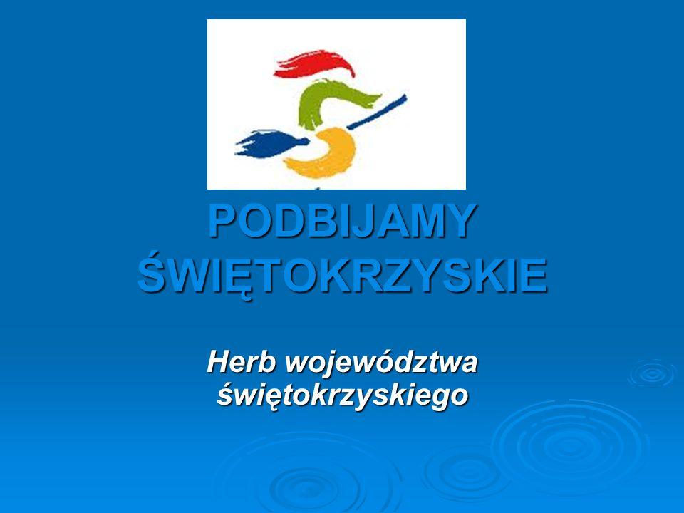 Herb województwa świętokrzyskiego – tarcza czwórdzielna w krzyż.