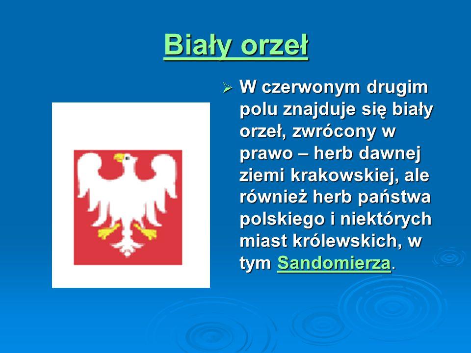 Osiem czerwono-srebrnych pasów W polu trzecim i czwartym umieszczony jest herb województwa sandomierskiego.