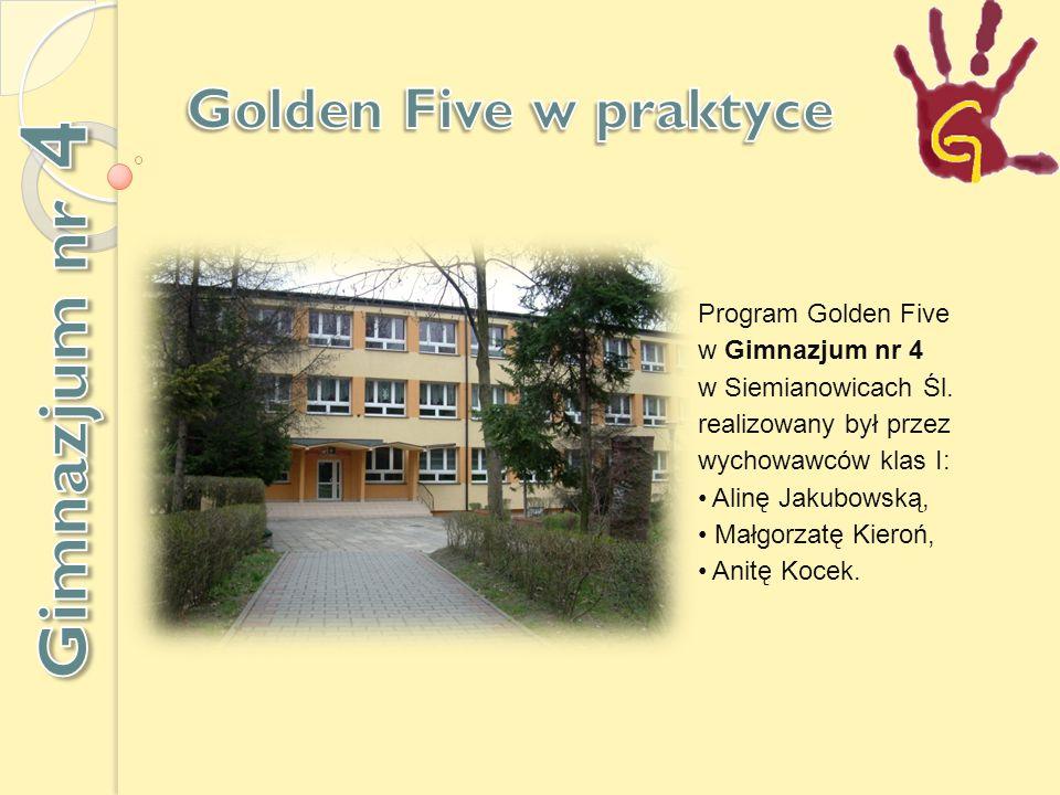 Program Golden Five w Gimnazjum nr 4 w Siemianowicach Śl.