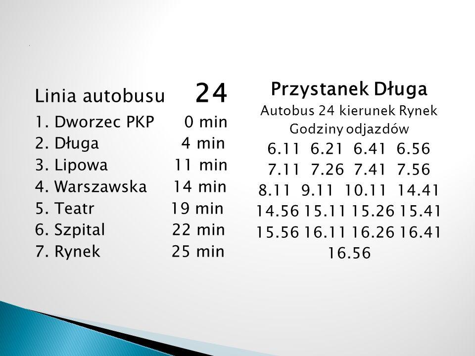 Linia autobusu 24 1. Dworzec PKP 0 min 2. Długa 4 min 3. Lipowa 11 min 4. Warszawska 14 min 5. Teatr 19 min 6. Szpital 22 min 7. Rynek 25 min Przystan