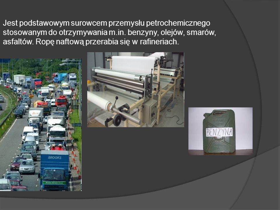 Jest podstawowym surowcem przemysłu petrochemicznego stosowanym do otrzymywania m.in. benzyny, olejów, smarów, asfaltów. Ropę naftową przerabia się w