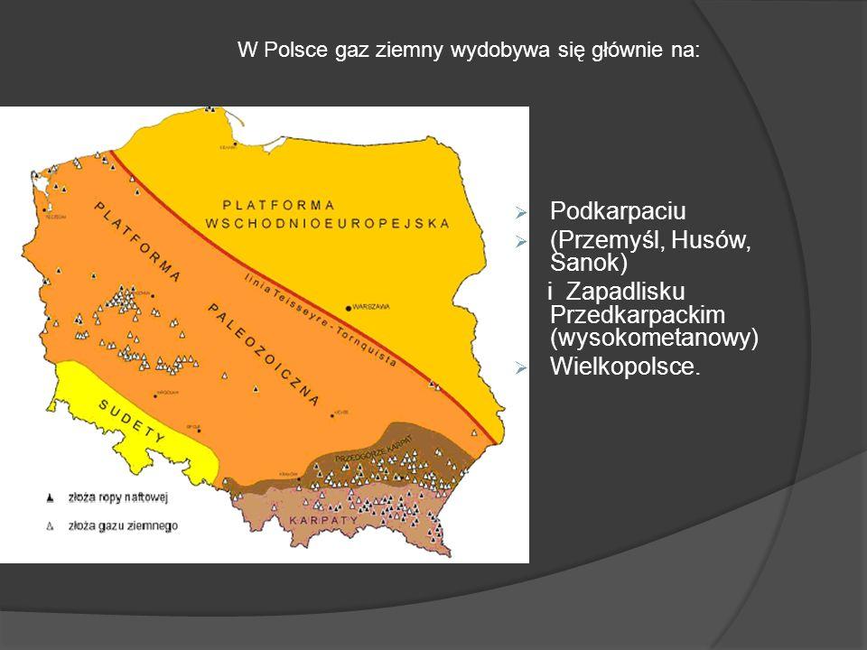 Podkarpaciu (Przemyśl, Husów, Sanok) i Zapadlisku Przedkarpackim (wysokometanowy) Wielkopolsce. W Polsce gaz ziemny wydobywa się głównie na: