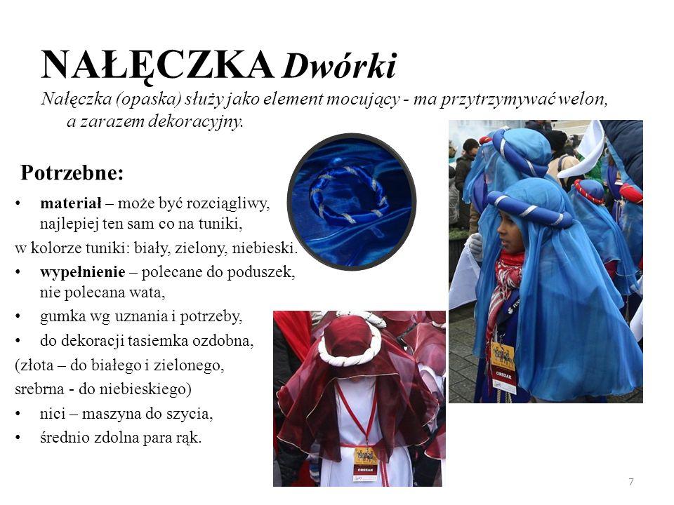 NAŁĘCZKA Dwórki Potrzebne: materiał – może być rozciągliwy, najlepiej ten sam co na tuniki, w kolorze tuniki: biały, zielony, niebieski. wypełnienie –