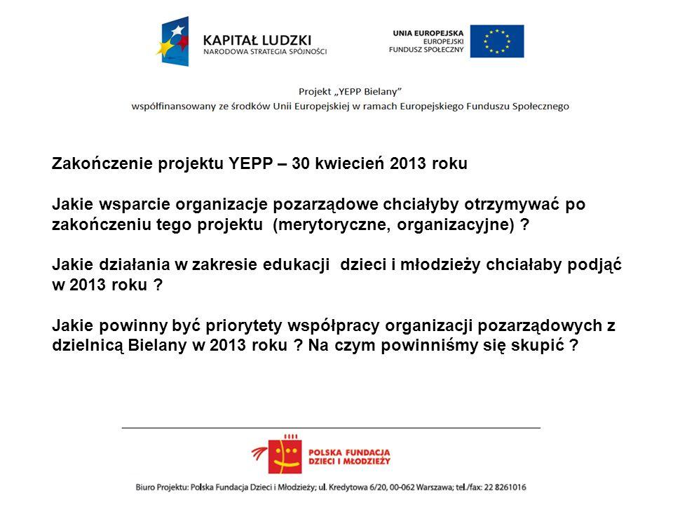 Zakończenie projektu YEPP – 30 kwiecień 2013 roku Jakie wsparcie organizacje pozarządowe chciałyby otrzymywać po zakończeniu tego projektu (merytoryczne, organizacyjne) .