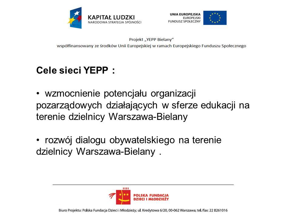 Cele sieci YEPP : wzmocnienie potencjału organizacji pozarządowych działających w sferze edukacji na terenie dzielnicy Warszawa-Bielany rozwój dialogu obywatelskiego na terenie dzielnicy Warszawa-Bielany.