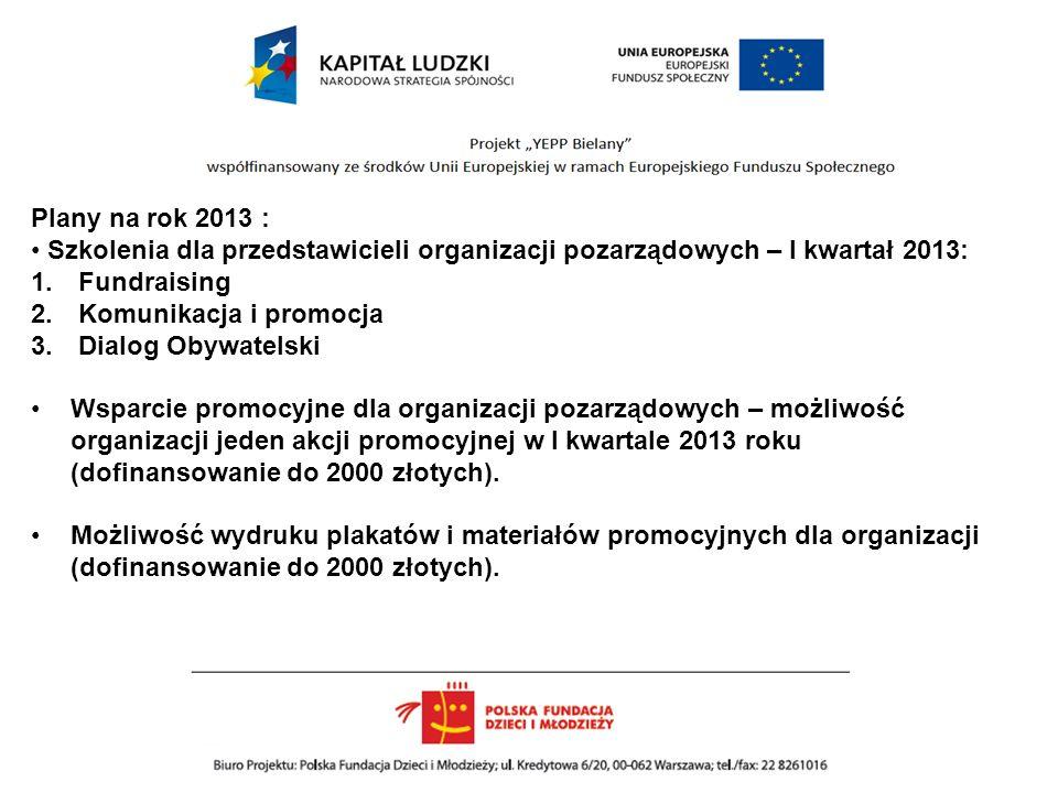 Plany na rok 2013 : Szkolenia dla przedstawicieli organizacji pozarządowych – I kwartał 2013: 1.