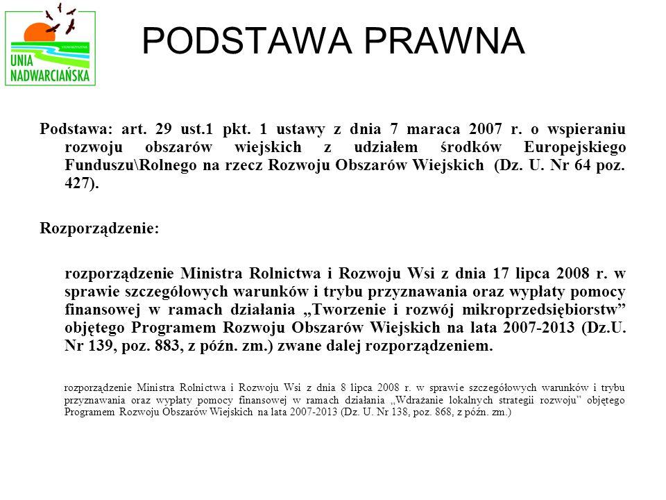 PODSTAWA PRAWNA Podstawa: art. 29 ust.1 pkt. 1 ustawy z dnia 7 maraca 2007 r.