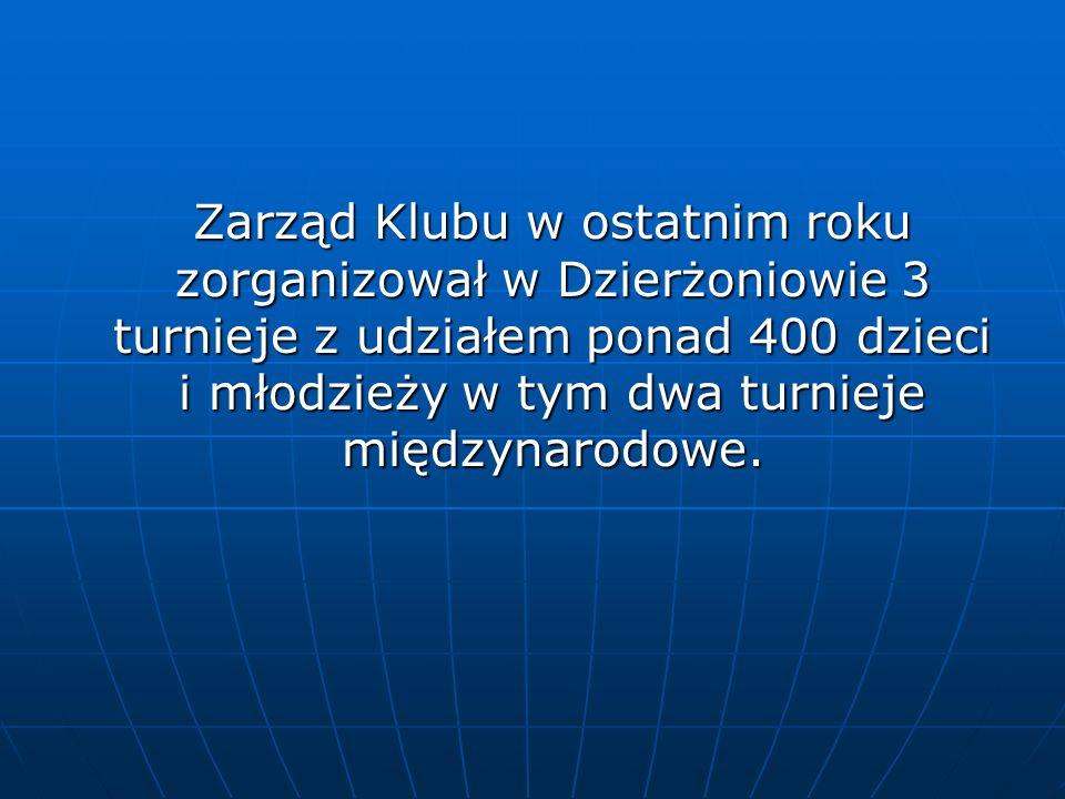 Zarząd Klubu w ostatnim roku zorganizował w Dzierżoniowie 3 turnieje z udziałem ponad 400 dzieci i młodzieży w tym dwa turnieje międzynarodowe.