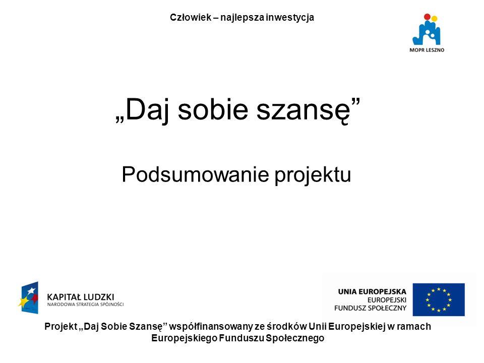 Daj sobie szansę Podsumowanie projektu Projekt Daj Sobie Szansę współfinansowany ze środków Unii Europejskiej w ramach Europejskiego Funduszu Społecznego Człowiek – najlepsza inwestycja