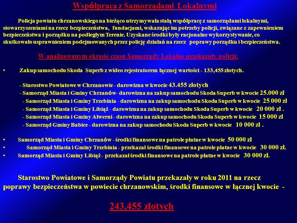 Policja powiatu chrzanowskiego na bieżąco utrzymywała stałą wsp ó łpracę z samorządami lokalnymi, stowarzyszeniami na rzecz bezpieczeństwa, fundacjami, wskazując im potrzeby policji, związane z zapewnieniem bezpieczeństwa i porządku na podległym Terenie.
