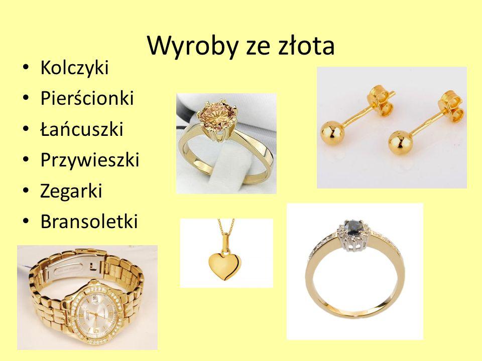 Wyroby ze złota Kolczyki Pierścionki Łańcuszki Przywieszki Zegarki Bransoletki