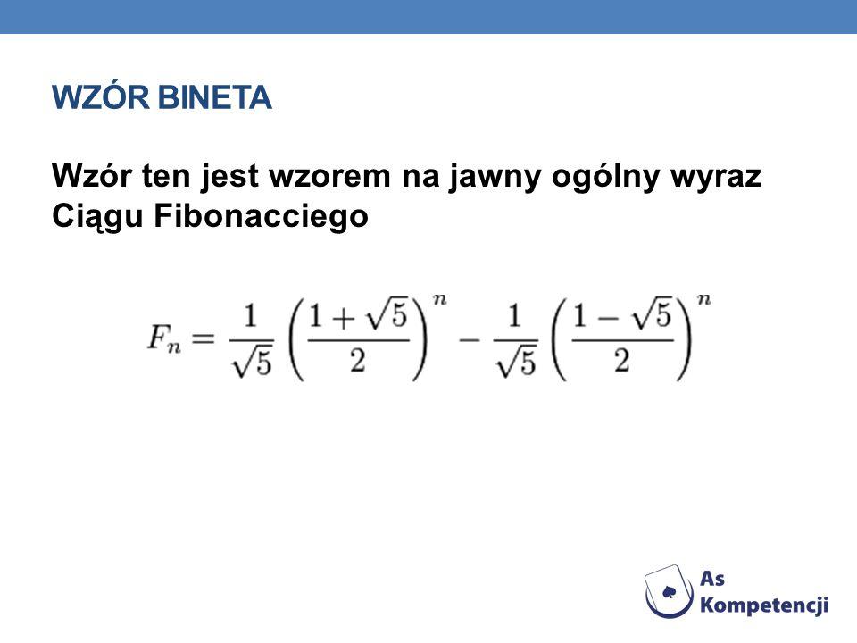 WZÓR BINETA Wzór ten jest wzorem na jawny ogólny wyraz Ciągu Fibonacciego