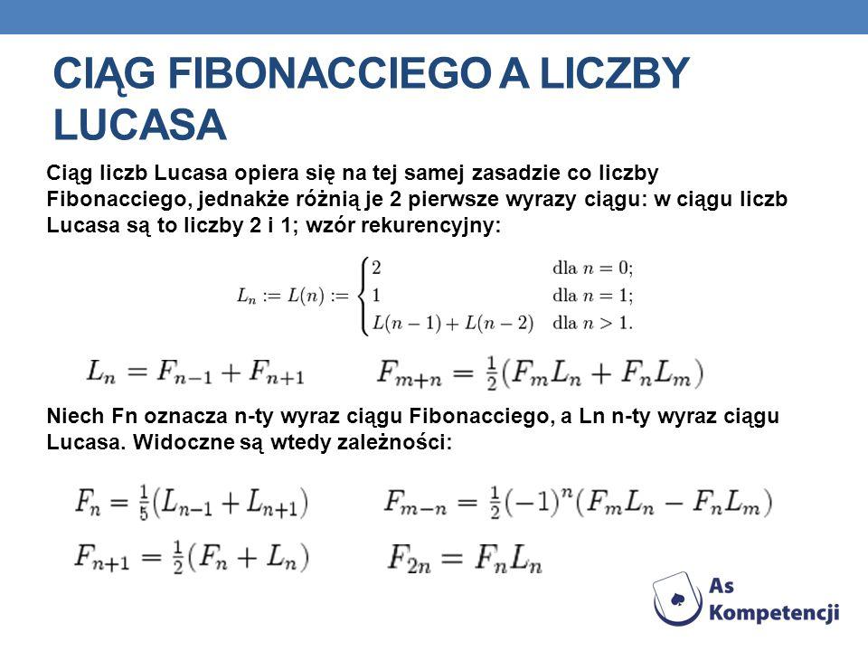 CIĄG FIBONACCIEGO A LICZBY LUCASA Ciąg liczb Lucasa opiera się na tej samej zasadzie co liczby Fibonacciego, jednakże różnią je 2 pierwsze wyrazy ciągu: w ciągu liczb Lucasa są to liczby 2 i 1; wzór rekurencyjny: Niech Fn oznacza n-ty wyraz ciągu Fibonacciego, a Ln n-ty wyraz ciągu Lucasa.
