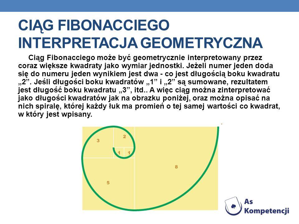 CIĄG FIBONACCIEGO INTERPRETACJA GEOMETRYCZNA Ciąg Fibonacciego może być geometrycznie interpretowany przez coraz większe kwadraty jako wymiar jednostk