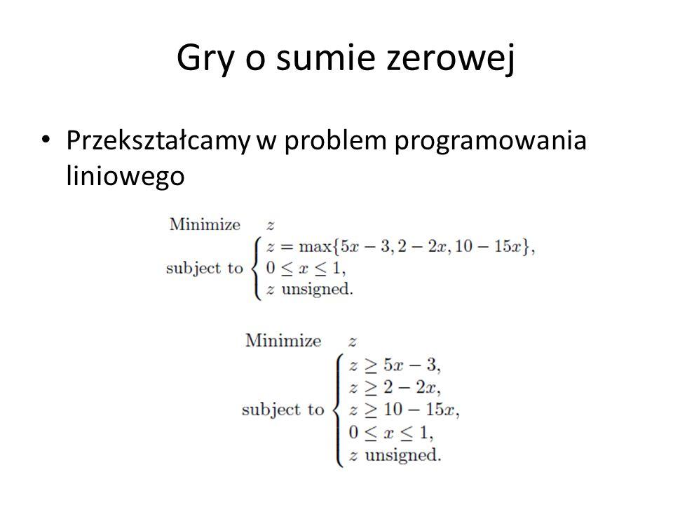 Przekształcamy w problem programowania liniowego Gry o sumie zerowej