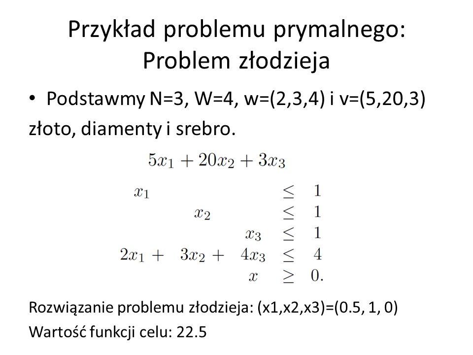 Przykład problemu prymalnego: Problem złodzieja Podstawmy N=3, W=4, w=(2,3,4) i v=(5,20,3) złoto, diamenty i srebro. max p.w. Rozwiązanie problemu zło