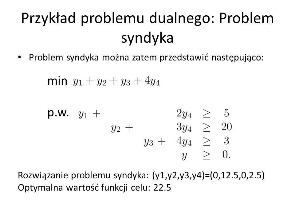 Przykład problemu dualnego: Problem syndyka Problem syndyka można zatem przedstawić następująco: min p.w. Rozwiązanie problemu syndyka: (y1,y2,y3,y4)=
