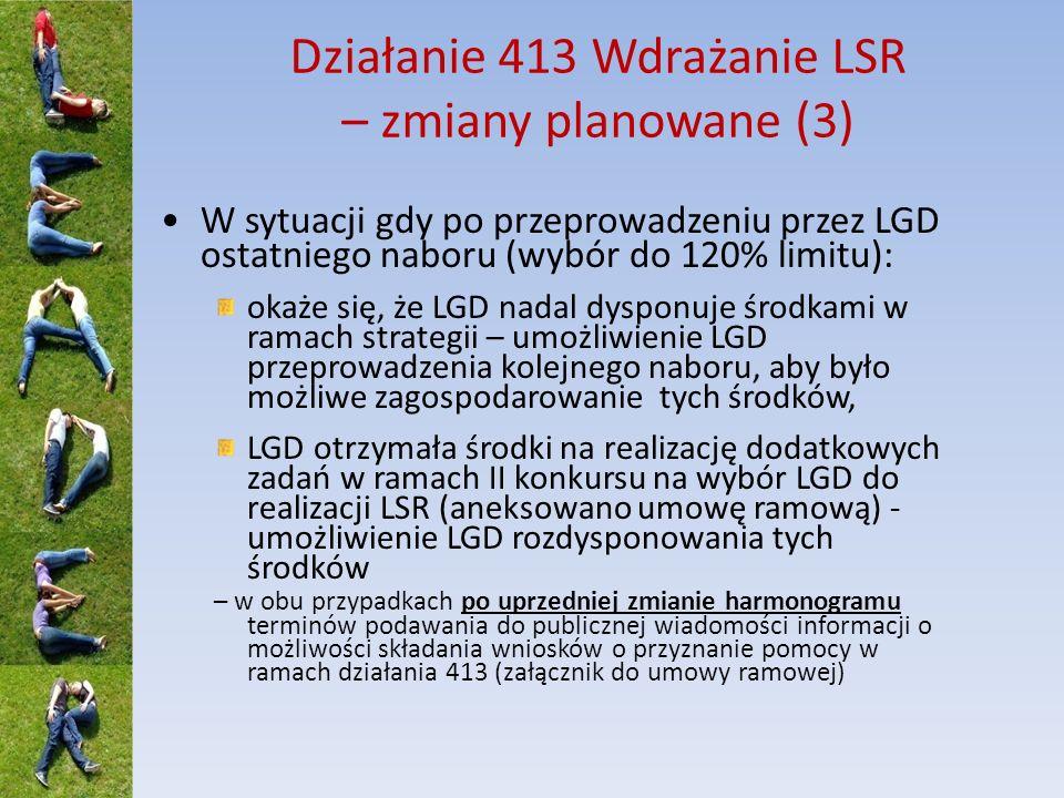 Działanie 413 Wdrażanie LSR – komentarz (1) LGD może złożyć do SW ostatni wniosek o podanie do publicznej wiadomości informacji o możliwości składania wniosków o przyznanie pomocy w ramach działania 413 (w przypadku małych projektów - do dnia 30 czerwca 2014 r.).