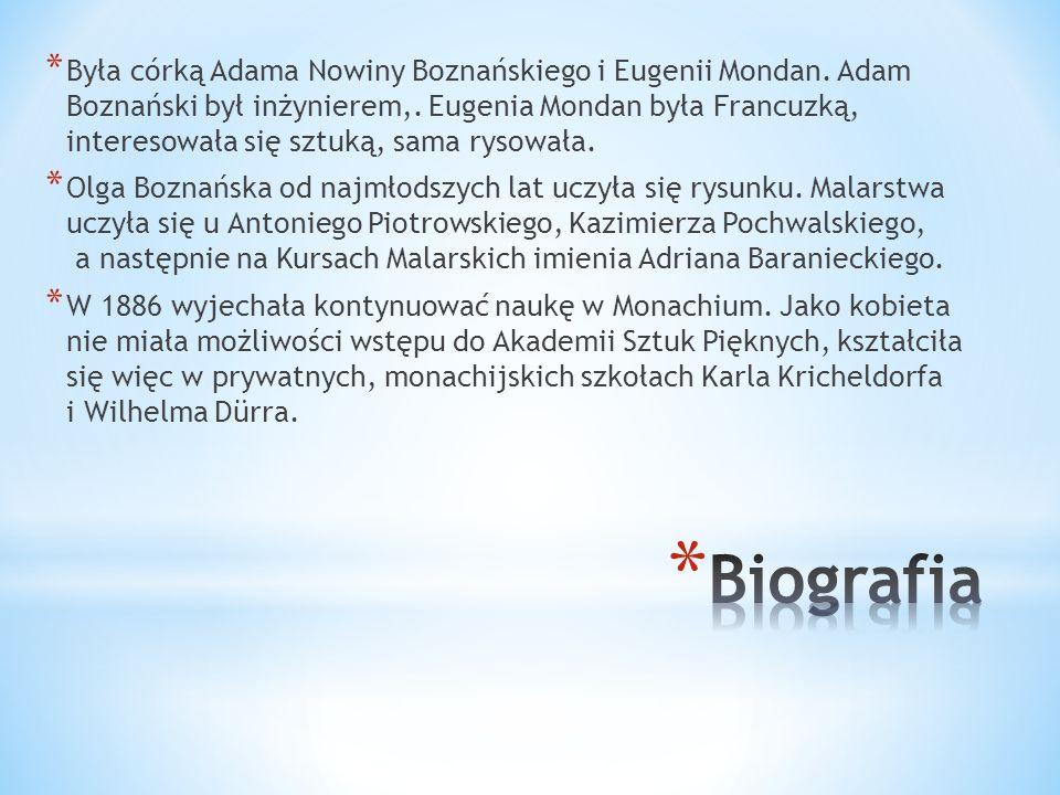 * Była córką Adama Nowiny Boznańskiego i Eugenii Mondan. Adam Boznański był inżynierem,. Eugenia Mondan była Francuzką, interesowała się sztuką, sama