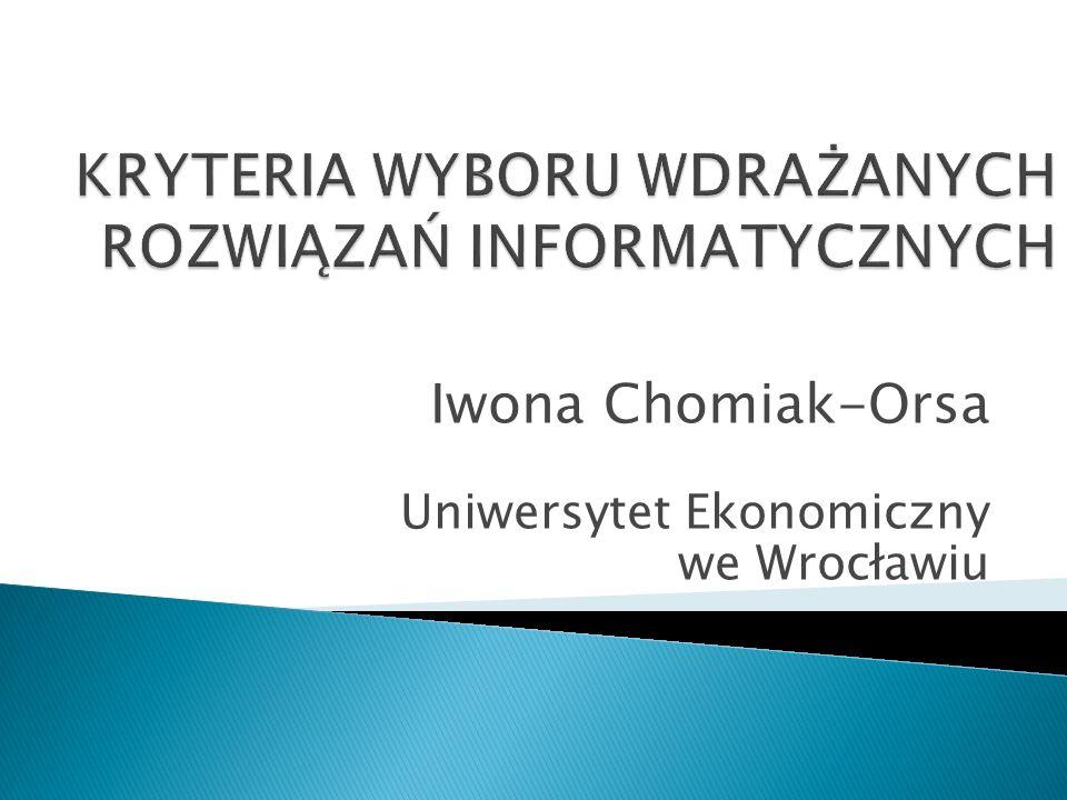 Struktura 1.Typologia i zakres przedsięwzięć informatycznych 2.Podstawowe kryteria wyboru 3.Perspektywy oceny 4.Podział nakładów przedsięwzięć informatycznych 5.Metody ocen 2Wrocław, 2011; dr Iwona Chomiak-Orsa