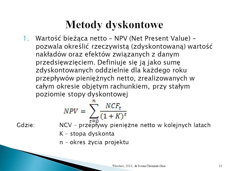 1.Wartość bieżąca netto – NPV (Net Present Value) – pozwala określić rzeczywistą (zdyskontowaną) wartość nakładów oraz efektów związanych z danym prze