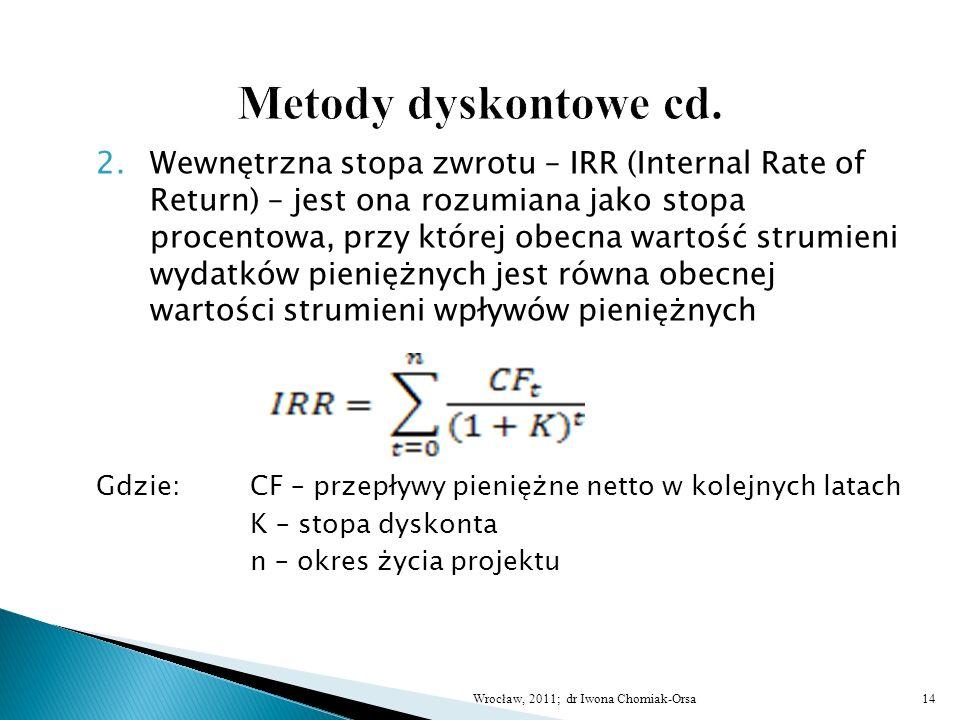 2.Wewnętrzna stopa zwrotu – IRR (Internal Rate of Return) – jest ona rozumiana jako stopa procentowa, przy której obecna wartość strumieni wydatków pi