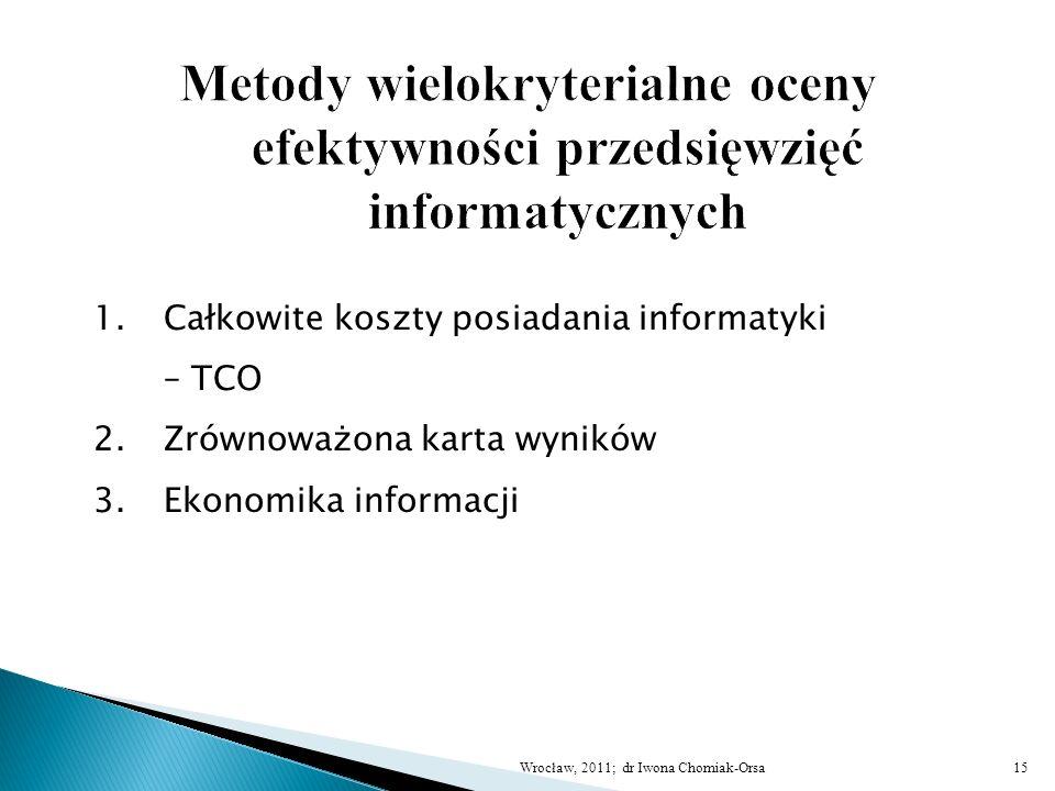 1.Całkowite koszty posiadania informatyki – TCO 2.Zrównoważona karta wyników 3.Ekonomika informacji 15Wrocław, 2011; dr Iwona Chomiak-Orsa