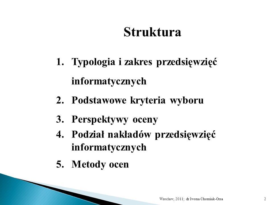 Struktura 1.Typologia i zakres przedsięwzięć informatycznych 2.Podstawowe kryteria wyboru 3.Perspektywy oceny 4.Podział nakładów przedsięwzięć informa