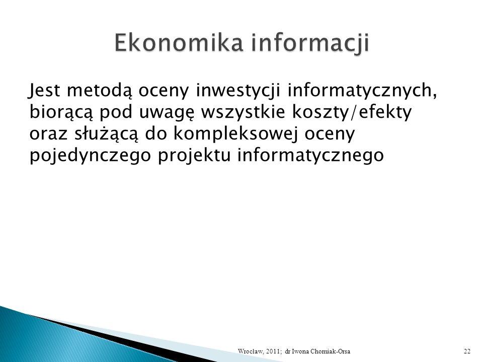 Jest metodą oceny inwestycji informatycznych, biorącą pod uwagę wszystkie koszty/efekty oraz służącą do kompleksowej oceny pojedynczego projektu infor