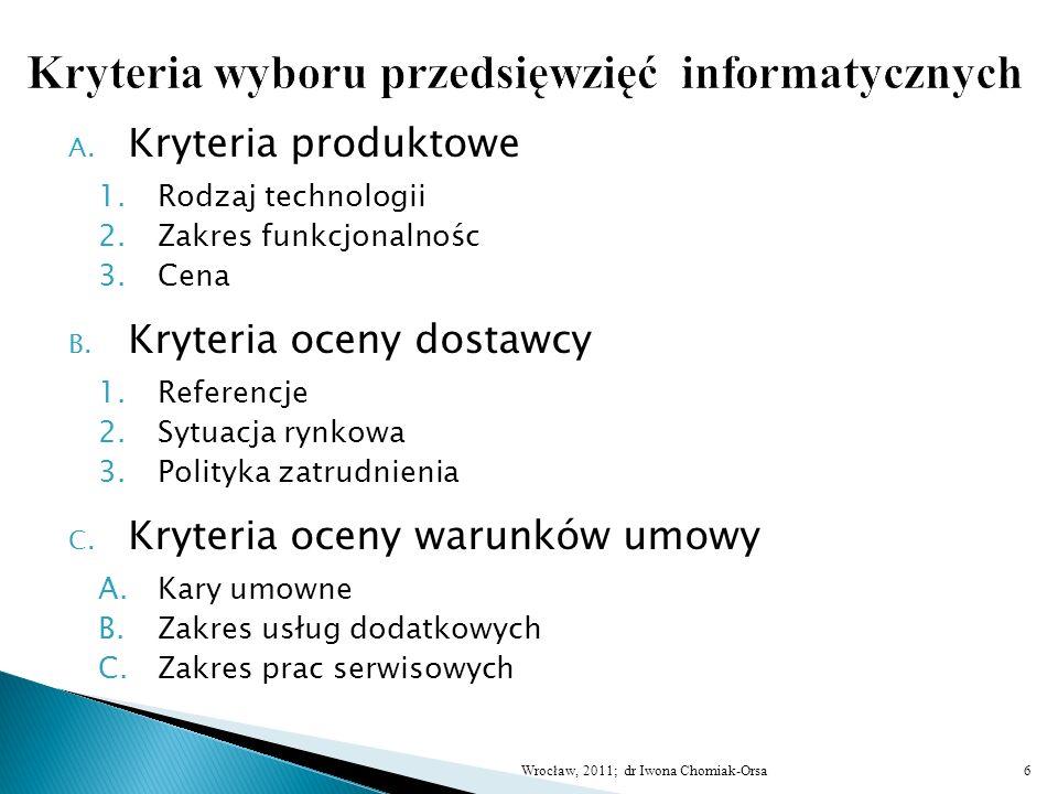 A. Kryteria produktowe 1.Rodzaj technologii 2.Zakres funkcjonalnośc 3.Cena B. Kryteria oceny dostawcy 1.Referencje 2.Sytuacja rynkowa 3.Polityka zatru