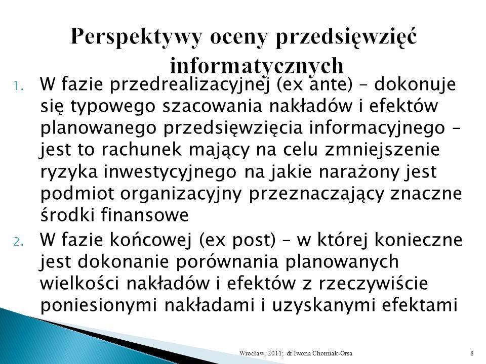 1. W fazie przedrealizacyjnej (ex ante) – dokonuje się typowego szacowania nakładów i efektów planowanego przedsięwzięcia informacyjnego – jest to rac