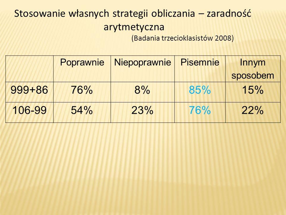 PoprawnieNiepoprawniePisemnie Innym sposobem 999+8676%8%85%15% 106-9954%23%76%22% Stosowanie własnych strategii obliczania – zaradność arytmetyczna (B