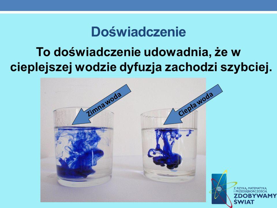 Doświadczenie To doświadczenie udowadnia, że w cieplejszej wodzie dyfuzja zachodzi szybciej. Ciepła wodaZimna woda