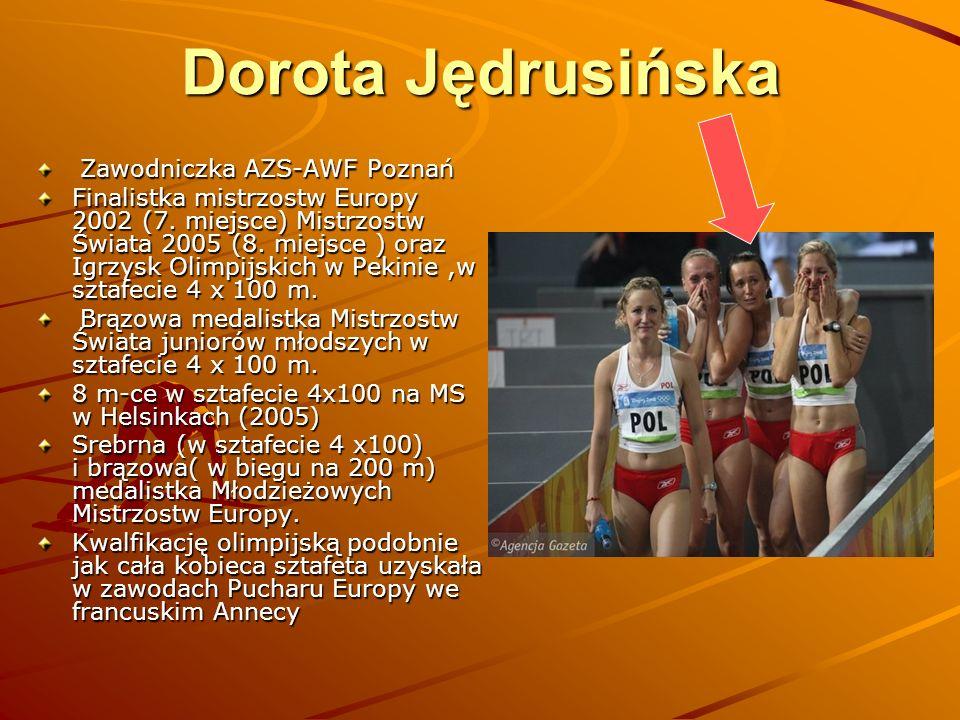 Dorota Jędrusińska Zawodniczka AZS-AWF Poznań Zawodniczka AZS-AWF Poznań Finalistka mistrzostw Europy 2002 (7. miejsce) Mistrzostw Świata 2005 (8. mie