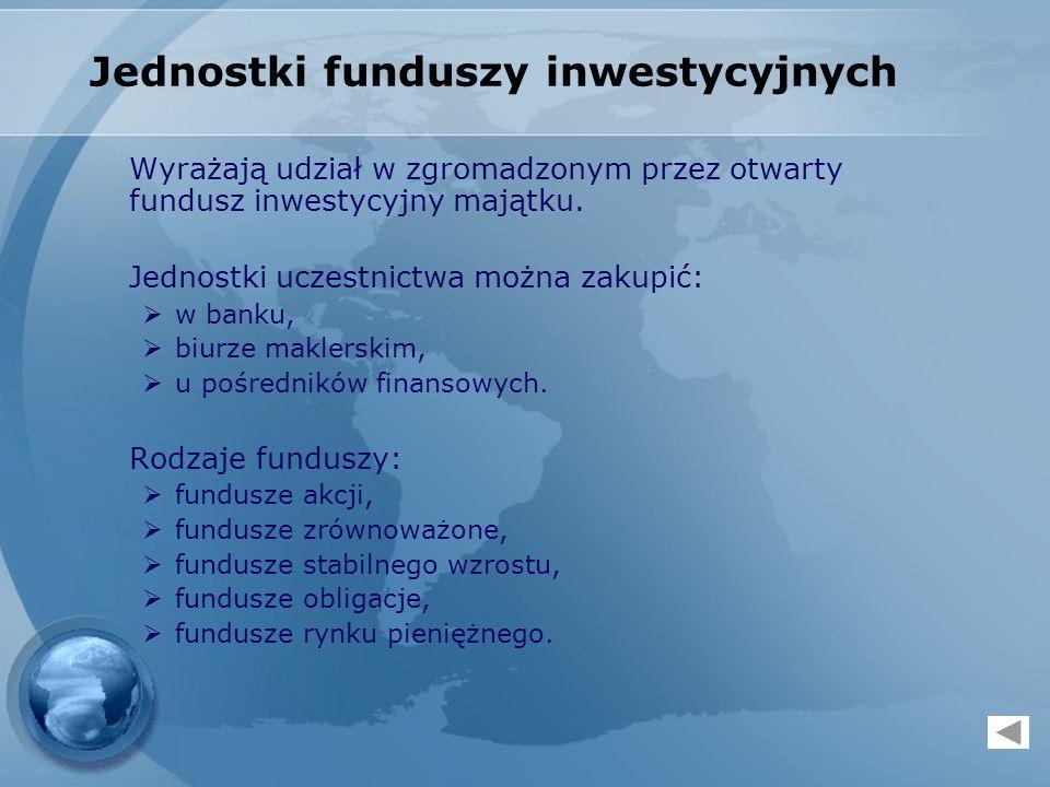 Jednostki funduszy inwestycyjnych Wyrażają udział w zgromadzonym przez otwarty fundusz inwestycyjny majątku. Jednostki uczestnictwa można zakupić: w b