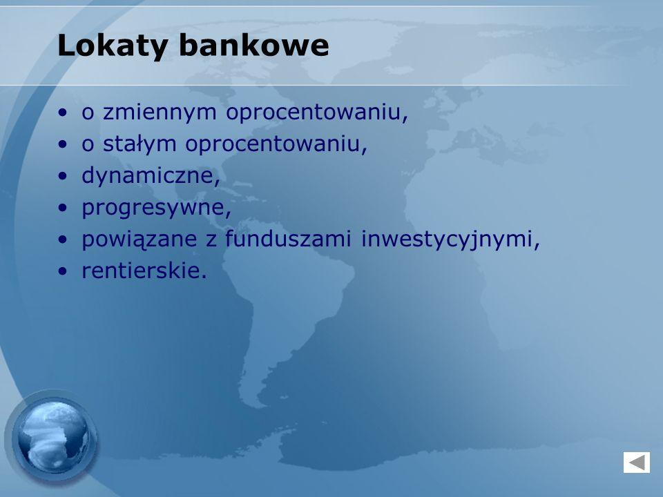 Lokaty bankowe o zmiennym oprocentowaniu, o stałym oprocentowaniu, dynamiczne, progresywne, powiązane z funduszami inwestycyjnymi, rentierskie.