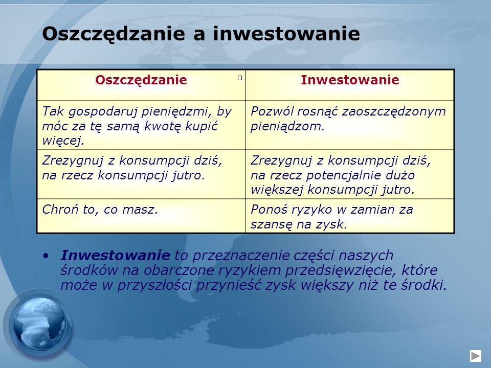 Oszczędzanie a inwestowanie OszczędzanieInwestowanie Tak gospodaruj pieniędzmi, by móc za tę samą kwotę kupić więcej. Pozwól rosnąć zaoszczędzonym pie