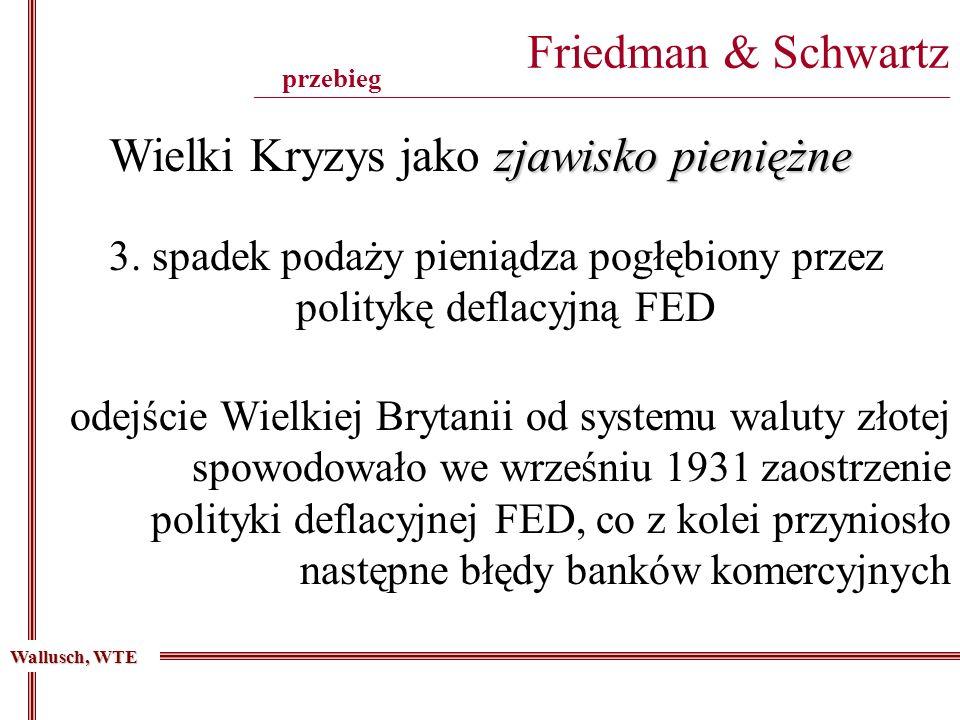 Friedman & Schwartz _______________________________________________________________________________________ 3. spadek podaży pieniądza pogłębiony prze