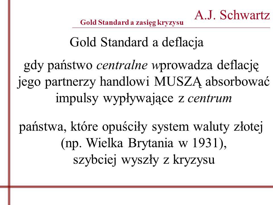 Gold Standard a deflacja A.J. Schwartz _______________________________________________________________________________________ gdy państwo centralne w