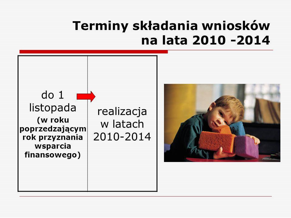 Terminy składania wniosków na lata 2010 -2014 do 1 listopada (w roku poprzedzającym rok przyznania wsparcia finansowego) realizacja w latach 2010-2014