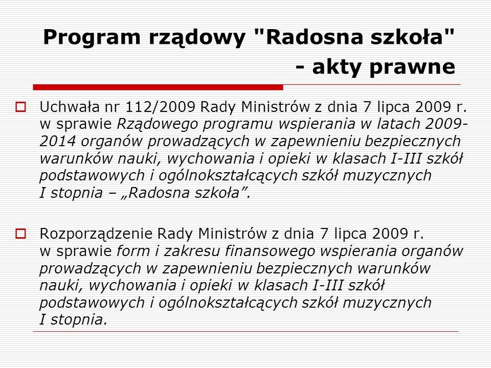 Program rządowy Radosna szkoła - akty prawne Uchwała nr 112/2009 Rady Ministrów z dnia 7 lipca 2009 r.