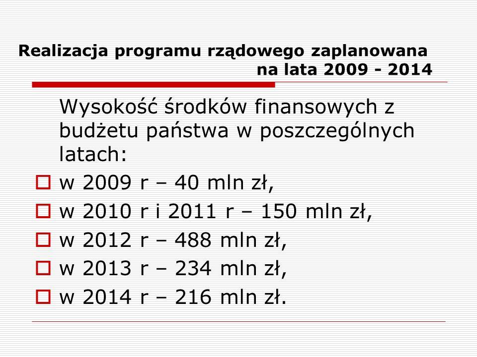 Realizacja programu rządowego zaplanowana na lata 2009 - 2014 Wysokość środków finansowych z budżetu państwa w poszczególnych latach: w 2009 r – 40 mln zł, w 2010 r i 2011 r – 150 mln zł, w 2012 r – 488 mln zł, w 2013 r – 234 mln zł, w 2014 r – 216 mln zł.
