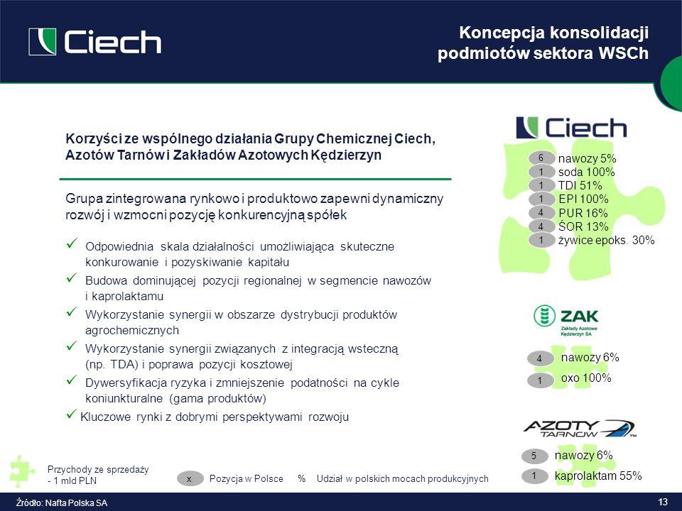 13 Koncepcja konsolidacji podmiotów sektora WSCh Źródło: Nafta Polska SA Korzyści ze wspólnego działania Grupy Chemicznej Ciech, Azotów Tarnów i Zakła