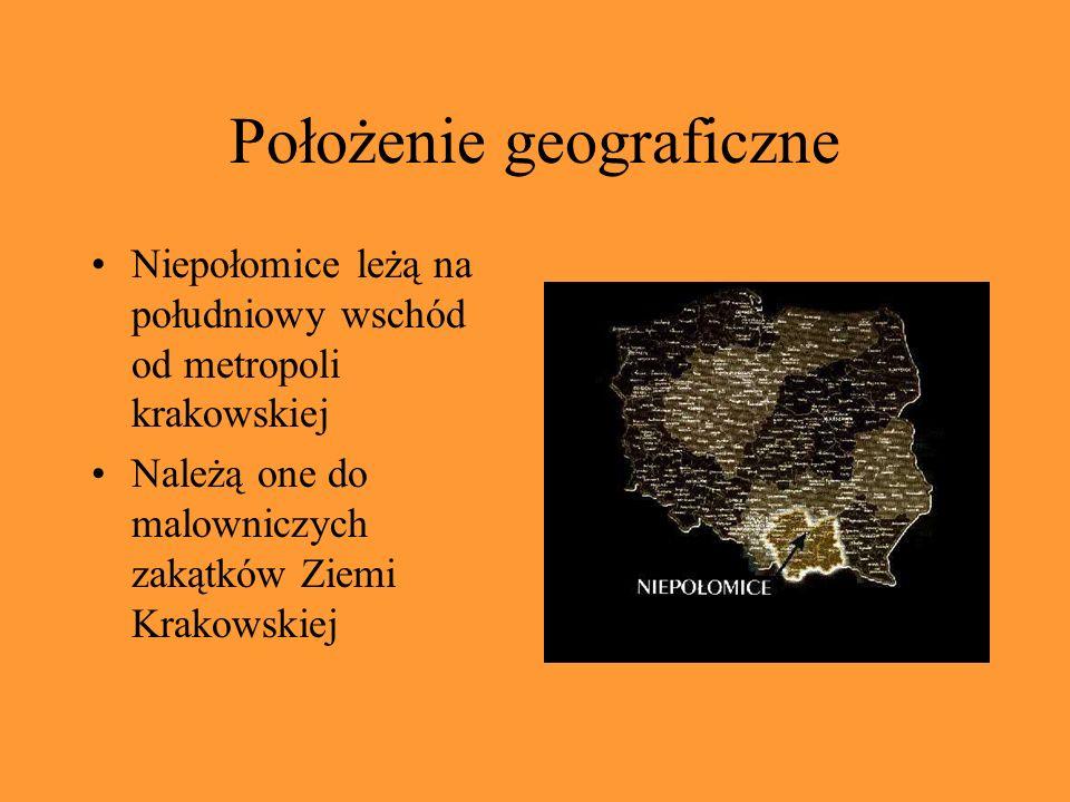 Położenie geograficzne Niepołomice leżą na południowy wschód od metropoli krakowskiej Należą one do malowniczych zakątków Ziemi Krakowskiej