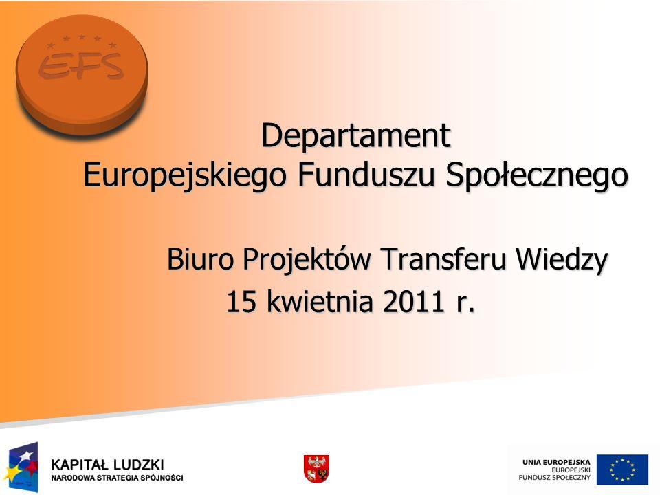 Departament Europejskiego Funduszu Społecznego Biuro Projektów Transferu Wiedzy Biuro Projektów Transferu Wiedzy 15 kwietnia 2011 r.