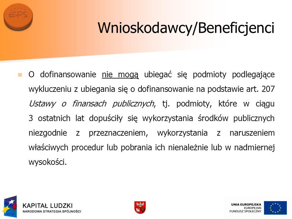 Wnioskodawcy/Beneficjenci O dofinansowanie nie mogą ubiegać się podmioty podlegające wykluczeniu z ubiegania się o dofinansowanie na podstawie art.